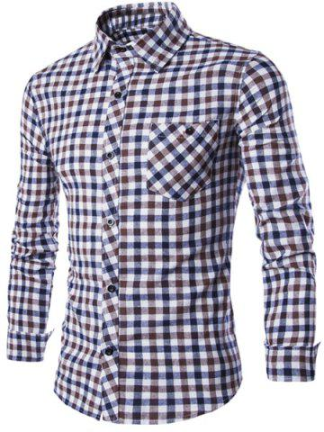 Buy Turn-Down Collar Long Sleeve Slimming Checked Button-Down Shirt For Men