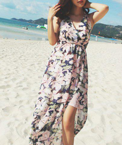Buy Chic Spaghetti Strap Sleeveless Floral Print Women's Dress