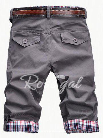 Fashion Plaid Cuff Zip Fly Shorts For Men от Rosegal.com INT