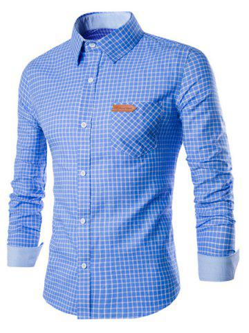 Cheap Long Sleeve Slimming Checked Cotton Shirt