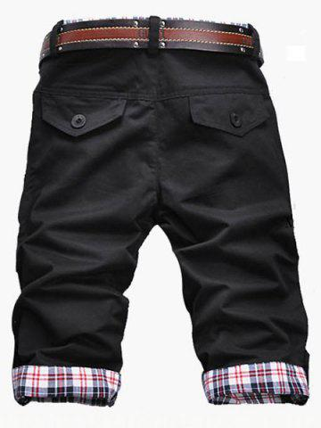 Fancy Fashion Plaid Cuff Zip Fly Shorts For Men - XL BLACK Mobile