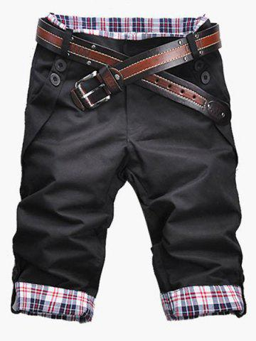 Discount Fashion Plaid Cuff Zip Fly Shorts For Men - L BLACK Mobile