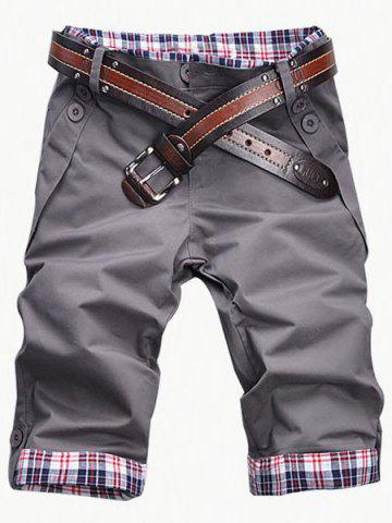 Trendy Fashion Plaid Cuff Zip Fly Shorts For Men - XL GRAY Mobile