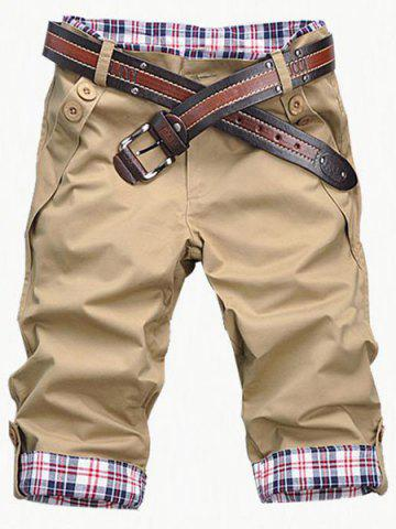 Fashion Fashion Plaid Cuff Zip Fly Shorts For Men - 2XL KHAKI Mobile