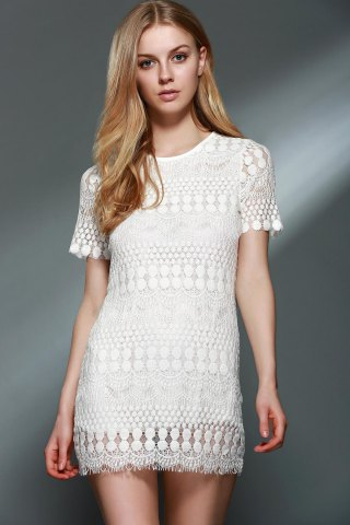Stylish Round Collar Short Sleeve Solid Color Lace Blouse For Women - White - 2xl