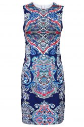 Retro Style Jewel Neck Sleeveless Colorful Printed Sheathy Prom Dress For Women -