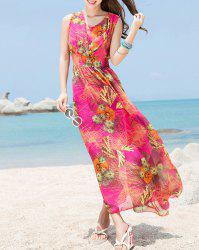 Maxi Bohemian Swing Beach Dress for Summer - Rose