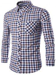 Turn-Down Collar Long Sleeve Slimming Checked Button-Down Shirt For Men -