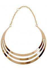 Statement Mirror Side Multilayered Necklace - GOLDEN