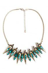 Retro Faux Crystal Water Drop Necklace -