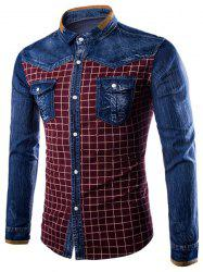 Turn-Down Collar Long Sleeve Denim Splicing Checked Design Shirt For Men