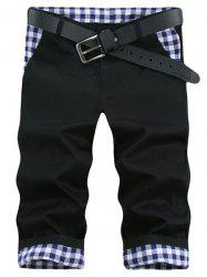 Straight Leg Plaid Imprimer Shorts Splicing Zipper Fly Hommes - Noir