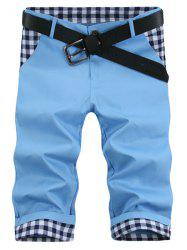 Straight Leg Plaid Print Splicing Zipper Fly Men's Shorts - AZURE
