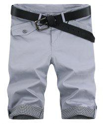 Fashion Plaid Cuff Pocket Zip Fly Shorts For Men - LIGHT GRAY