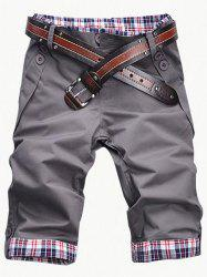 Fashion Plaid Cuff Zip Fly Shorts For Men - GRAY