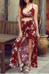 Stylish Lace Up Floral Print Crop Top and High Slit Skirt Twinset For Women -