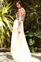 Plunge Floor Length Pleated Chiffon Formal Prom Dress - OFF-WHITE L