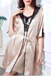 Chic Spaghetti Strap Lace Spliced Silky Babydoll and Kimono Suit For Women