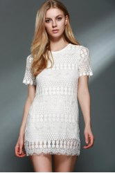 Stylish Round Collar Short Sleeve Solid Color Lace Blouse For Women