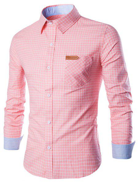 Chic Long Sleeve Slimming Checked Cotton Shirt