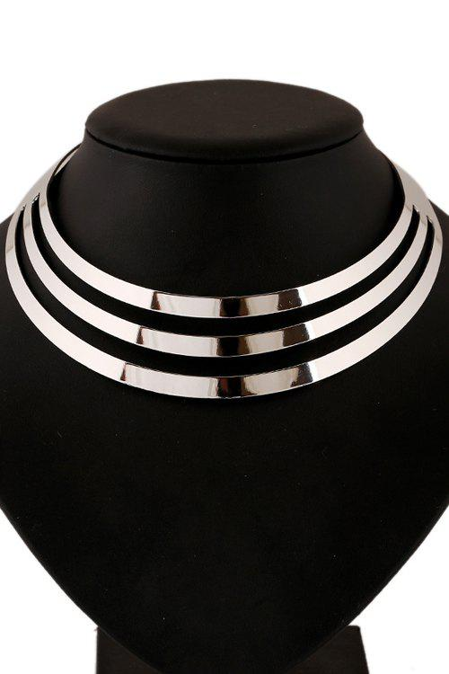 Statement Mirror Side Multilayered NecklaceJEWELRY<br><br>Color: SILVER; Item Type: Chokers Necklace; Gender: For Women; Necklace Type: Link Chain; Metal Type: Alloy; Style: Trendy; Shape/Pattern: Others; Weight: 0.090KG; Package Contents: 1 x Necklace;