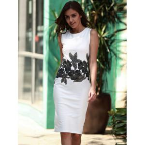 Brief Style Round Neck Sleeveless Floral Print Sheathy Dress For Women - WHITE L