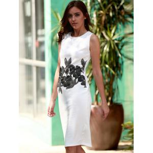 Brief Style Round Neck Sleeveless Floral Print Sheathy Dress For Women - WHITE M