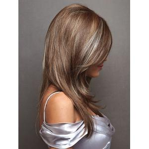 Charming White Highlight Long Synthetic Fluffy Natural Straight Side Parting Wig For Women - COLORMIX