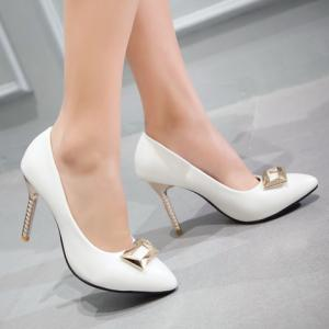 Pretty Metal and PU Leather Design Pumps For Women -