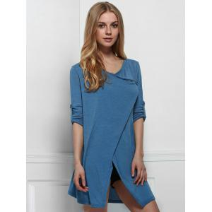 Elegant Cowl Neck Solid Color Slit Asymmetric Pullover Sweater For Women - BLUE ONE SIZE(FIT SIZE XS TO M)