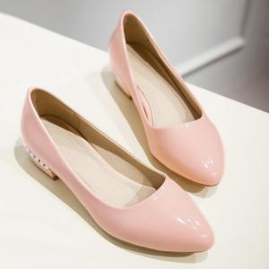 Simple Patent Leather and Pointed Toe Design Flat Shoes For Women - PINK 37