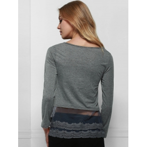 Charming Scoop Neck Long Sleeve Solid Color Lace Spliced Hem T-Shirt For Women - DEEP GRAY S