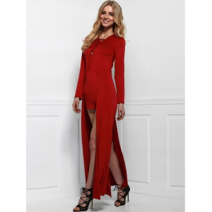 Lace-Up Long Sleeve Slit Romper - Wine Red - L