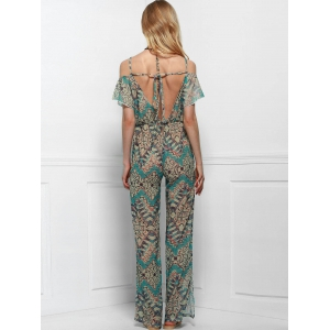 Vintage Printed Short Sleeve Backless Side Slit Wide-Leg Jumpsuit For Women -