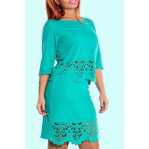 Plus Size Openwork Fitted Two Piece Dress - Green - 2xl