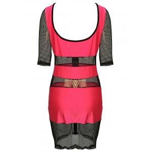 Sexy Scoop Neck Half Sleeve Mesh Design Hollow Out Bodycon Dress For Women - PINK M