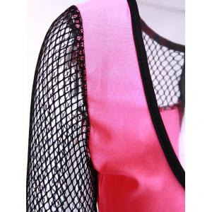 Sexy Scoop Neck Half Sleeve Mesh Design Hollow Out Bodycon Dress For Women -
