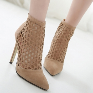 Fashion Hollow Out and Pointed Toe Design Pumps For Women - APRICOT 40