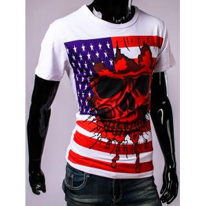 USA Flag and Skull 3D Print Round Neck Short Sleeve T-Shirt For Men -