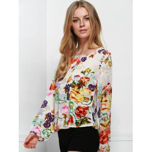 Chic Round Neck Long Sleeve Floral Print Cut Out Women's Blouse -