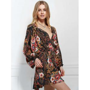 Stylish V-Neck Long Sleeve Printed Elastic Waist Dress For Women - COLORMIX L