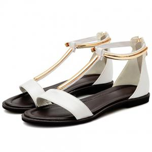 Casual T-Strap and Zipper Design Sandals For Women -