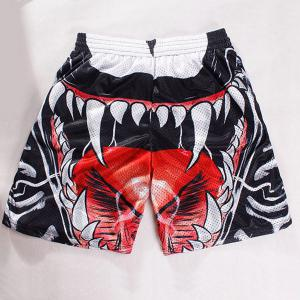 Straight Leg Breathable 3D Oral Cavity Pattern Drawstring Men's Board Shorts -