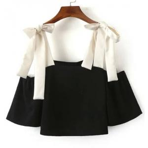 Sexy Square Neck Color Block 3/4 Sleeve Blouse For Women