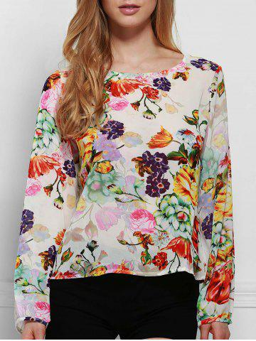 Unique Chic Round Neck Long Sleeve Floral Print Cut Out Women's Blouse