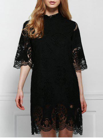 Sale Elegant Stand-Up Collar 3/4 Sleeve Solid Color Lace Dress For Women