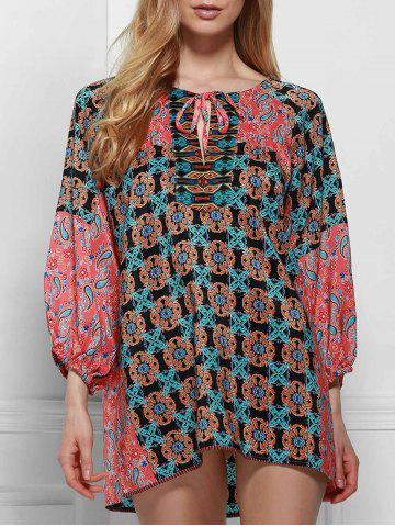 Fancy Ethnic Round Neck Long Sleeve Printed Lace-Up Blouse For Women