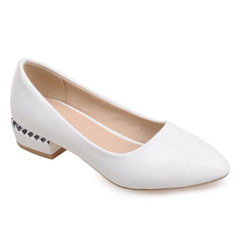 Chic Simple Patent Leather and Pointed Toe Design Flat Shoes For Women - 39 WHITE Mobile