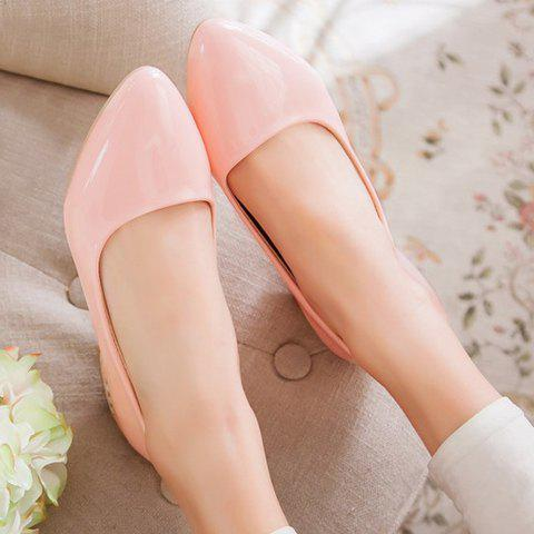 Shops Simple Patent Leather and Pointed Toe Design Flat Shoes For Women - 38 PINK Mobile