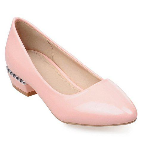 Shops Simple Patent Leather and Pointed Toe Design Flat Shoes For Women PINK 37